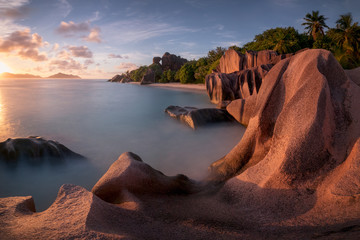 Red granite rocks at sunset at Anse Source D'Argent beach in Seychelles, Africa