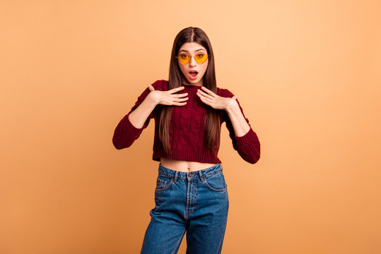Close up photo beautiful amazing she her lady ideal lips hands arms directing chest unexpected queen nomination wear sun specs casual red burgundy knitted pullover isolated pastel beige background