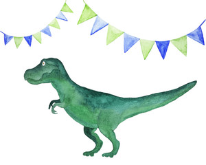 Watercolor illustration with Tirex dinosaur and holiday flags isolated on white background.