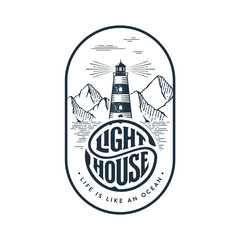 Lighthouse circle lettering oval gray Vector illustration.