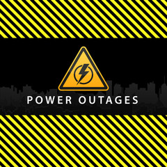 Power outage, warning poster in yellow and black with a beautiful triangular icon of electricity