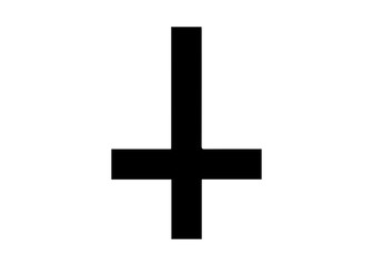 The Cross of Saint Peter or Petrine Cross is an inverted Latin cross traditionally used as a Christian symbol, but in recent times also used as an anti-Christian symbol. Vector isolated on white