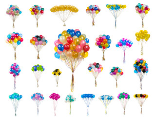 collage color balloons on a white
