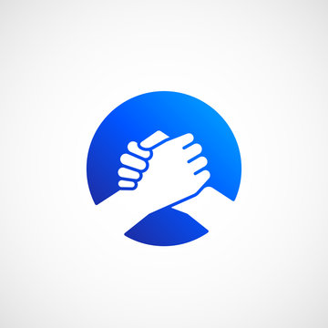Bro Handshake Abstract Vector Sign, Symbol or Icon. Friends, Partners or Brothers Hand Shake Incorporated in a Circle Concept.