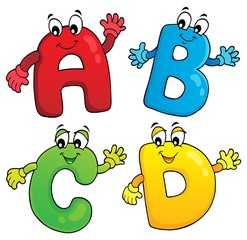 Cartoon ABCD letters theme 2