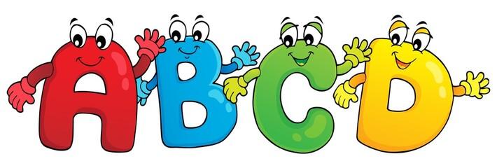 Poster Voor kinderen Cartoon ABCD letters theme 3
