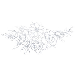 A hand-drawn silver flower bouquet. Illustration of a flower on a white background.