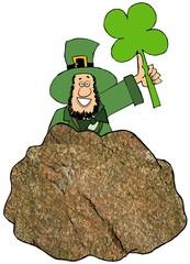 Irish leprechaun standing behind the Blarney Stone