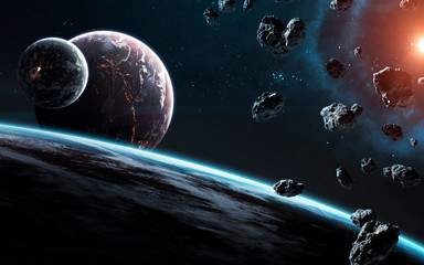 Wall Mural - Awesome beautiful planets somewhere in deep space. Elements of this image furnished by NASA