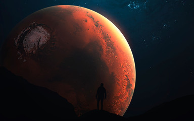 Wall Mural - Mars exploration, Planet of the Solar system. InSight mission. Elements of this image furnished by NASA