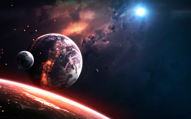 Wall Mural - Realistic planet render, deep space visualisation. Elements of this image furnished by NASA