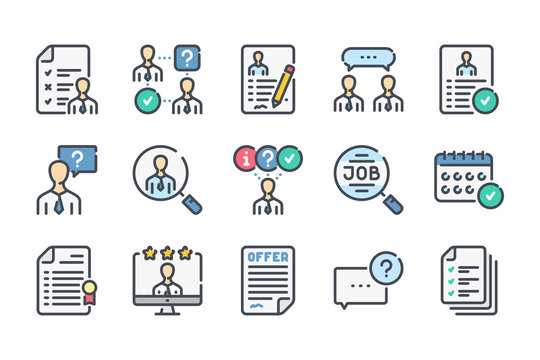 Interview related color line icon set. Job offer and employment linear icons. Career and recruitment colorful outline vector sign collection.