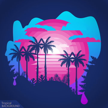 Purple tropical background.Tropic palms on the sunset.Negative space illustration
