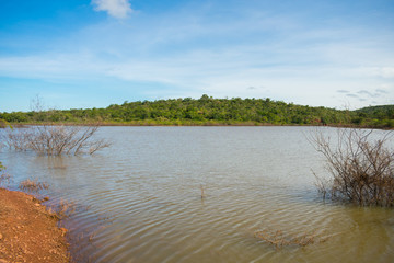 A view of Soizao Water Reservoir in midst of a preserved Caatinga forest in the countryside of Oeiras (Piaui, Brazil)
