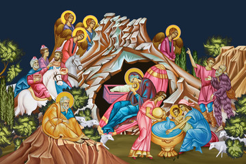 Jesus birth. Christmas religious illustration - fresco in Byzantine style