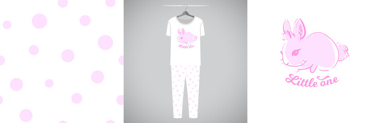 Wall Mural - Seamless dot pattern and illustration for kid with rabbit and quote Little one. Cute design pajamas on hanger. Baby background for clothes, room birthday decor, t-shirt print, kids wear fashion