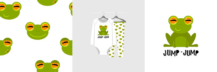 Wall Mural - Seamless pattern and illustration for kid with frog, text Jump-jump. Cute design on pajamas mockup. Baby background for clothes wear, room decor, t-shirt, baby shower invitation, wrapping