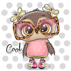 Canvas Prints Owls cartoon Cartoon Owl in pink glasses