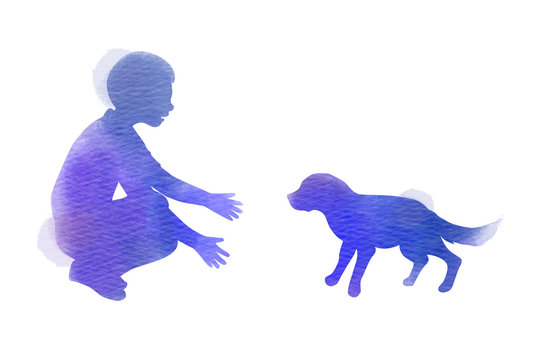 A Child playing with dog silhouette on watercolor background. The concept of trust, friendship and pet care. Digital art painting. Vector illustration.