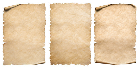 Vintage paper or parchments collection isolated on white Wall mural