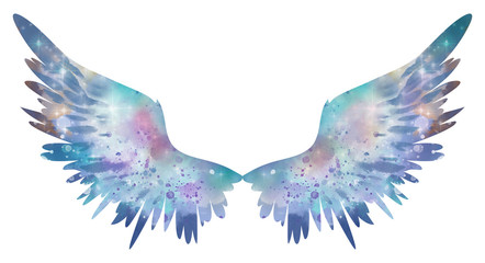 Blue watercolor wings, symbol of freedom
