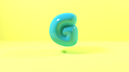 3d render blue bubble plastic on pink background letters g