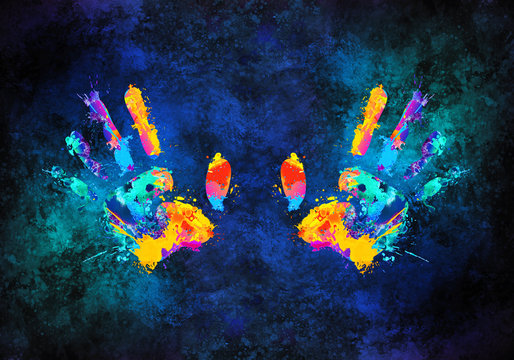 Abstract Artistic Multicolored 3d Rendering Illustration Of Hands