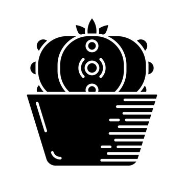 Peyote cactus in pot glyph icon