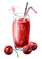 Foto auf Acrylglas Saft Glass of cherry Juice and fresh ripe berries. Watercolor hand drawn illustration, isolated on white background