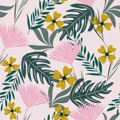 Tropical summer seamless pattern with flowers and leaves. Vector design. Jungle print. Floral background.