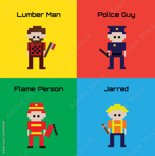 Set of 4 Worker Characters Designed in 16-bit Pixel Art