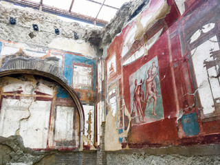 Deurstickers frescoes in the archaeological site of Herculaneum