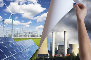 Pollution versus green environment renewable energy concept