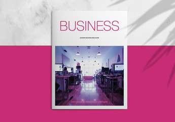 Corporate Brochure Layout with Hot Pink Accents
