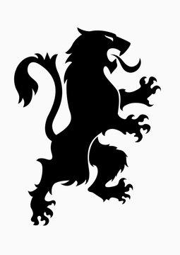 Heraldic rampant lion black silhouette. Coat of arms. Heraldry logo design element
