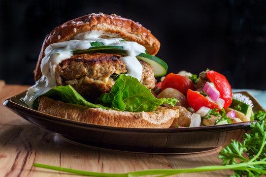 Greek Stuffed Turkey Hamburger