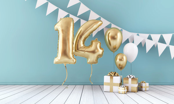 Happy 14th birthday party celebration balloon, bunting and gift box. 3D Render