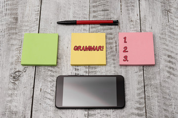 Writing note showing Grammar. Business concept for whole system structure language syntax and...