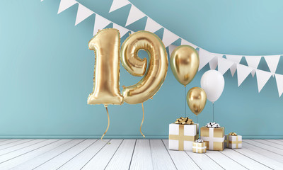 Happy 19th birthday party celebration balloon, bunting and gift box. 3D Render