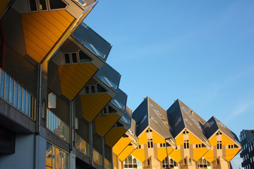 apartments and offices inside the cubic houses of Rotterdam, metropolitan city.