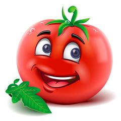 Fototapeta Cartoon mascot tomato smiling. Vector isolated. obraz