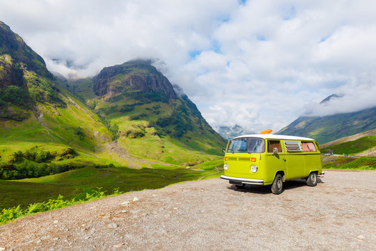 green Camper Van at three sister near glencoe in Scotland