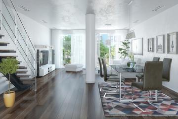 3d Illustation - Modernes Loft mit großen Fenster - Helles Wohnzimmer mit einem Esstisch und einer großen Couch