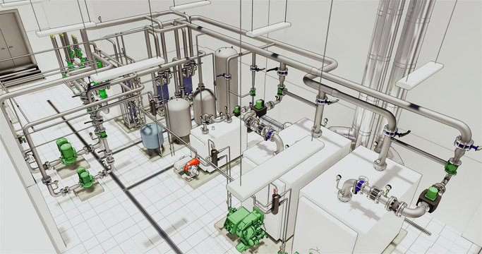 Conceptual visualization of drawing style of utilities at BIM technology