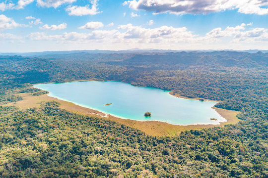 Aerial view of the turquoise Lagoon of Lacanja in the middle of the jungle of Chiapas in Mexico