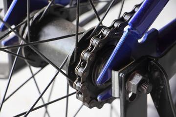 Rear wheel hub of children's road bike close-up - Bicycle repair and maintenance