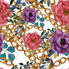 Watercolor seamless pattern with flowers and chains in vintage style. Fashion background. Baroque ornament. Fashion print design texture. Vintage background.