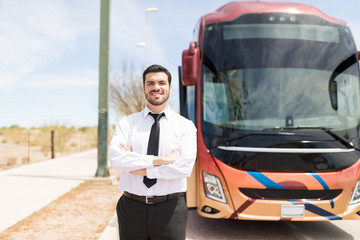 Smiling Bus Driver In Uniform