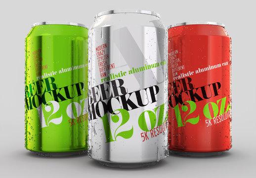 3 Aluminum Cans Mockup