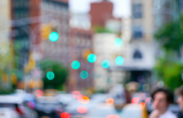 New York city street with traffic lights cars and buildings blurred with bokeh Wall mural
